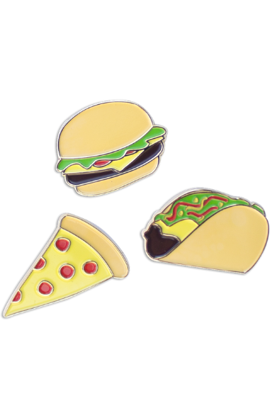 Three enamel pins on a white background.  From top, a cheeseburger, a pepperoni pizza slice, a taco.
