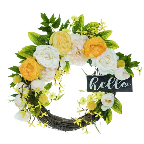 An image of a grapevine wreath with large white and yellow peonies around the top half and smaller flowers cascading down each side.  The right side of the wreath has a rectangular wooden sign that says 'hello' in white cursive writing.