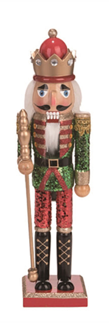 Wooden nutcracker with green glitter jacket and red glitter pants.  Crown features silver sequins.