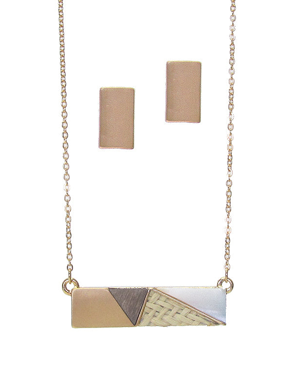Gold earring and bar necklace set.  Necklace features matching gold, and wood, rattan and iridescent stone accents.
