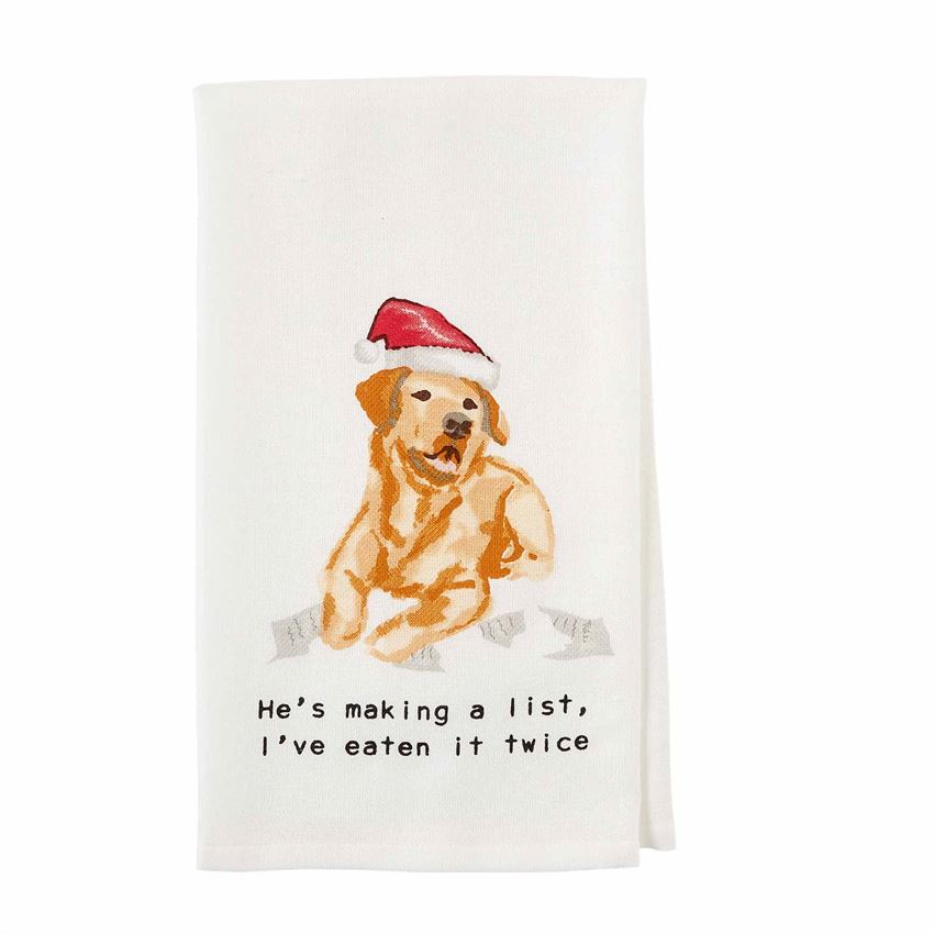 Watercolor artwork of Golden Retriever wearing a Santa hat laying in torn up paper.  Text below image says 'He's making a list, I've eaten it twice""