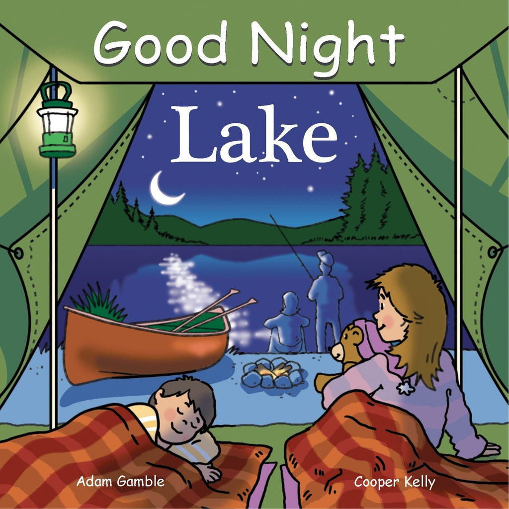 Cover of the book 'Good Night Lake' - depicting a family on a lakeshore at night.  Parents are fishing, a canoe is on shore, and a boy and girl are in a tent ready for sleep.
