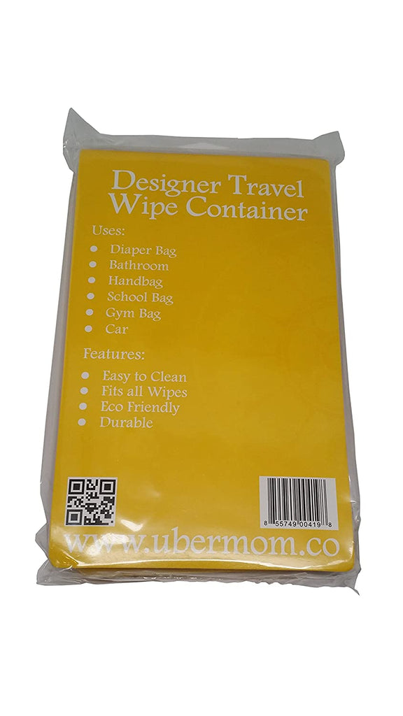 The back of the display bag for 'The WipeBox'.  Text from top to bottom says, Designer Travel Wipe Container.  Uses: Diaper Bag, Bathroom, Handbag, School Bag, Gym Bag, Car.  Features: Easy to Clean, Fits all Wipes, Eco Friendly, Durable""