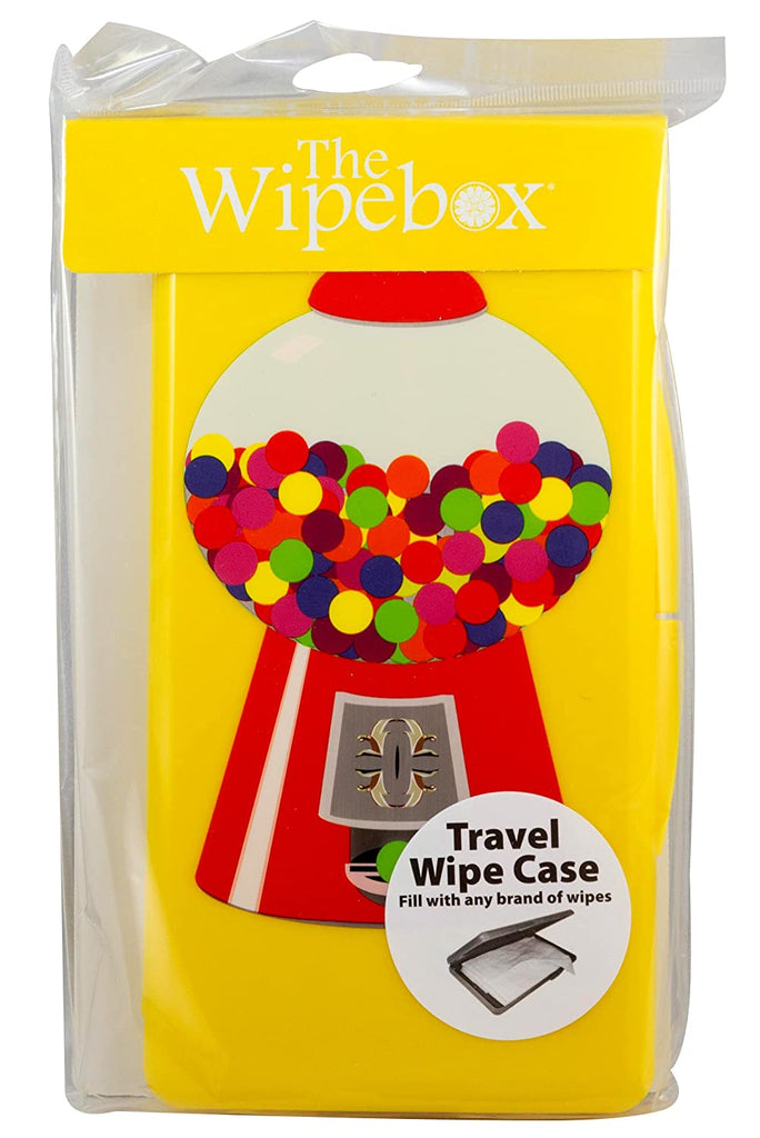 A clear plastic bag with a travel wipe case in side.  The bag has a printed label at the top that says 'The Wipebox'.  The case itself has an illustration of a gumball machine on it.