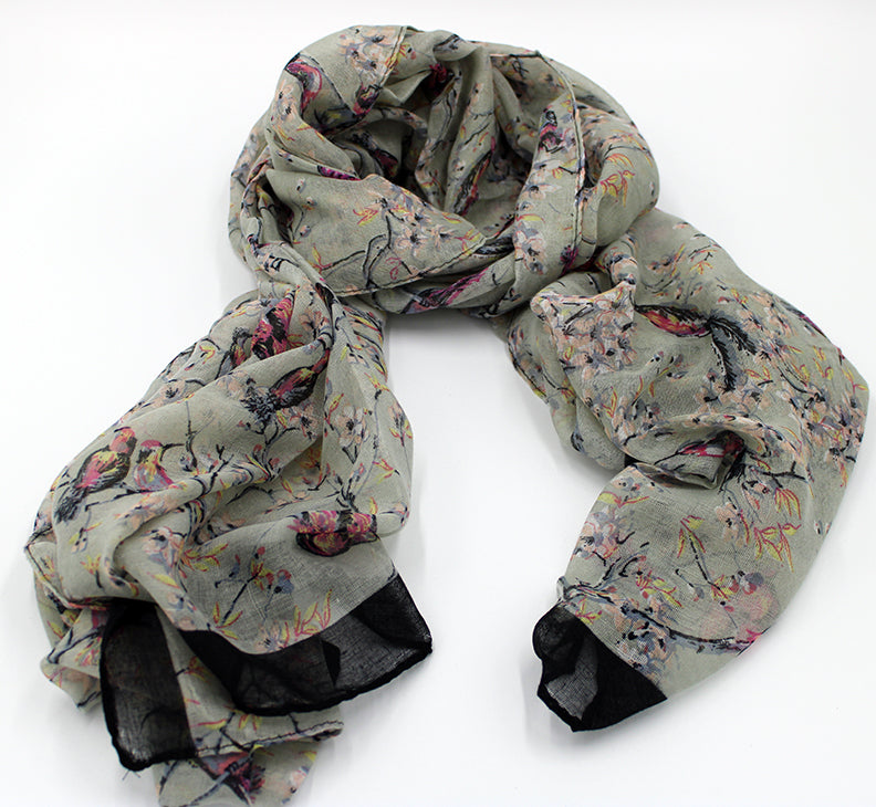 Petal Bird Blossoms Scarf Gray
