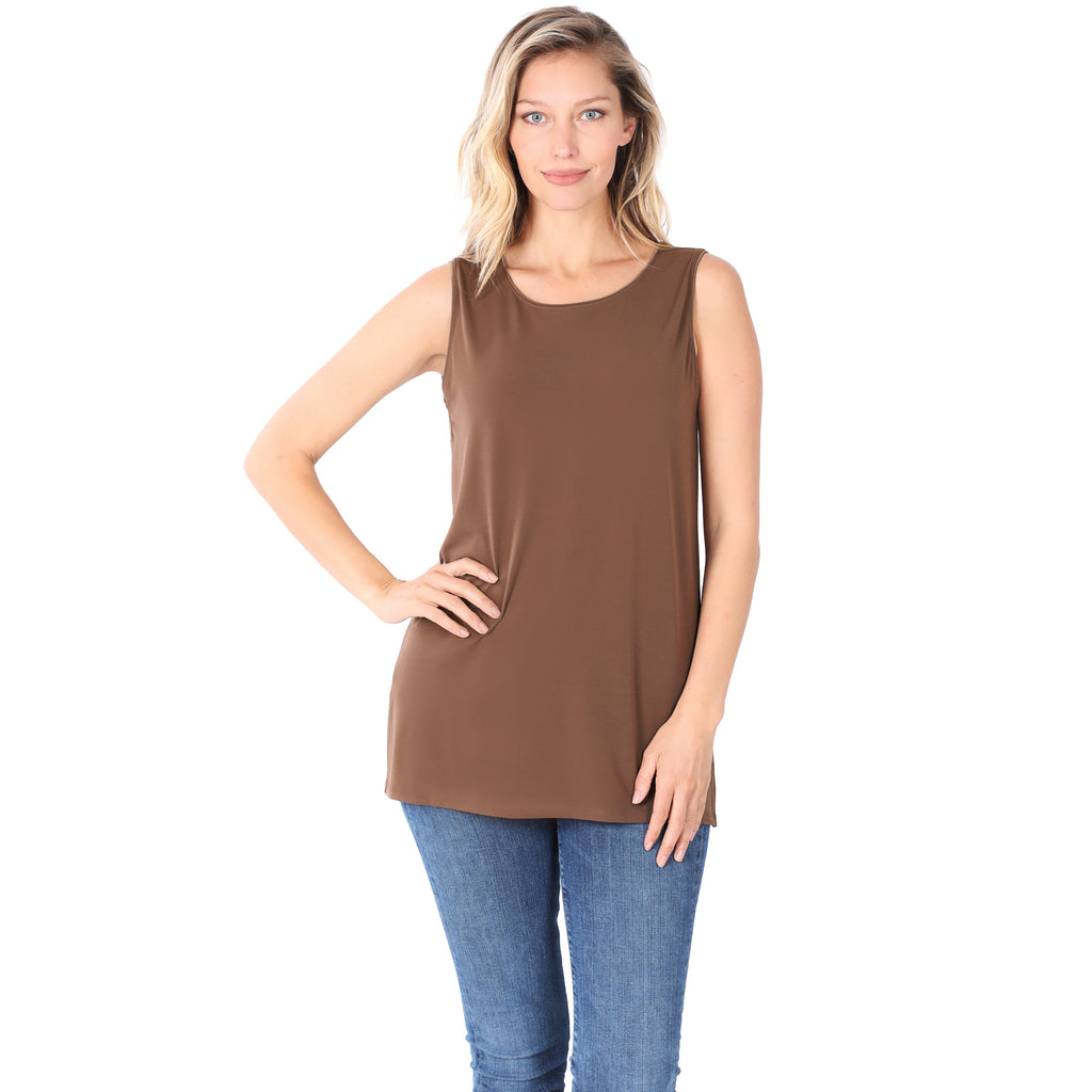 Model wearing a mocha colored long sleeveless top.