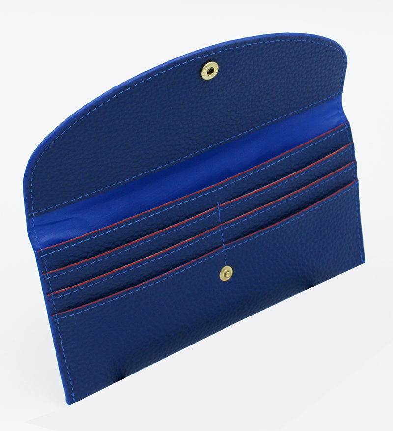 Inside of wallet, flap open showing pocket for cash and six pockets for credit cards