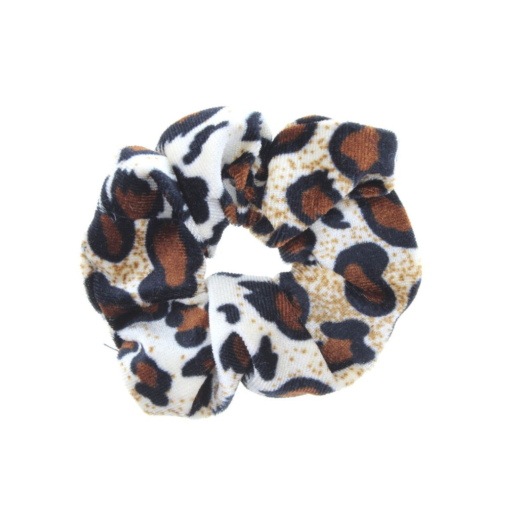 Large leopard print scrunchie on white background