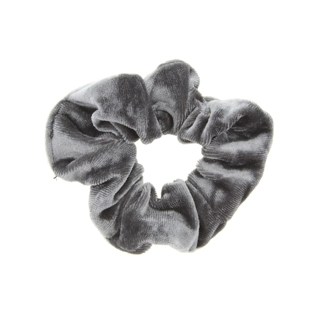 Dark gray scrunchie on white background