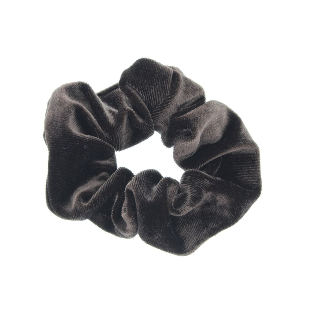 Chocolate (dark brown) scrunchie on white background