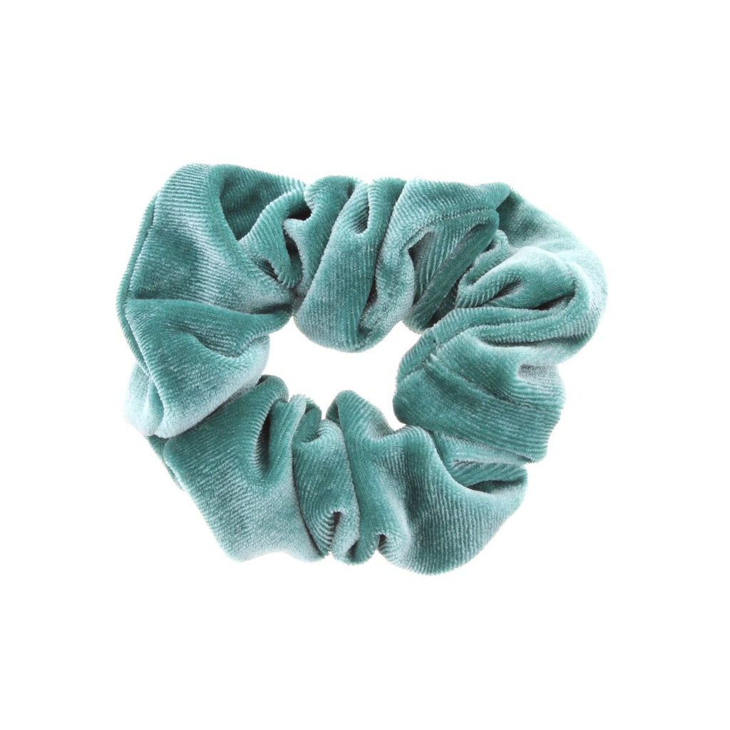 Light teal scrunchie on white background