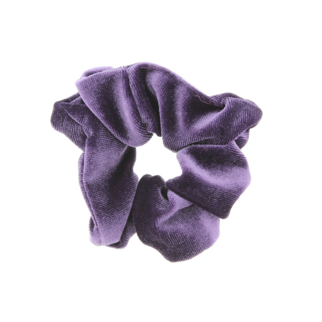 Purple scrunchie on white background