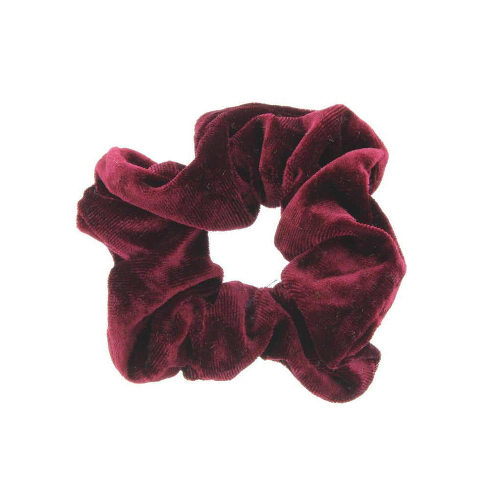 Burgundy scrunchie on white background