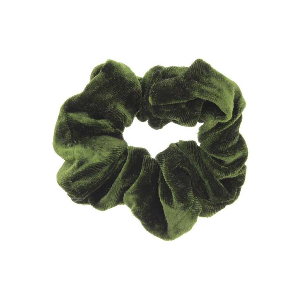 Dark green scrunchie on white background