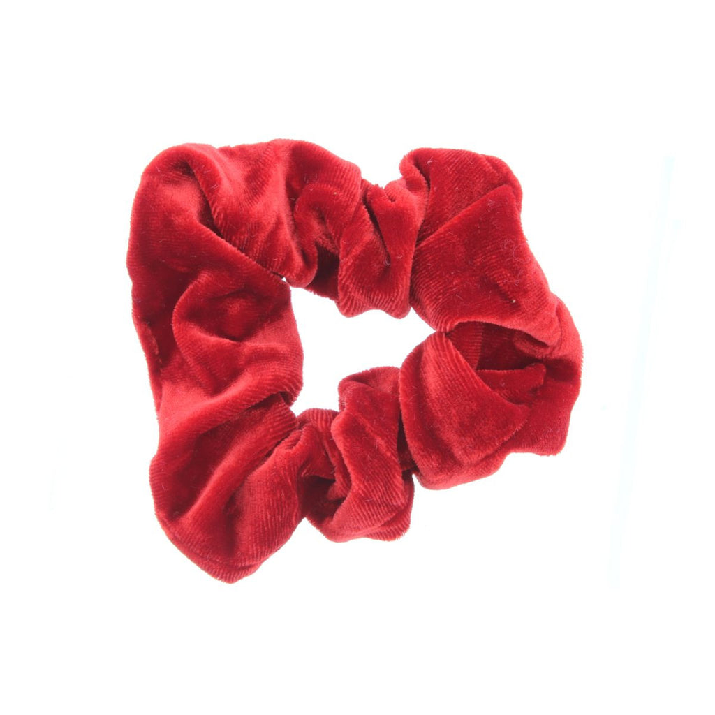 Red scrunchie on white background