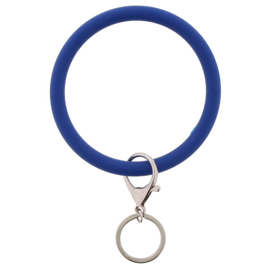 Berry blue bangle with keychain attachment on white background.