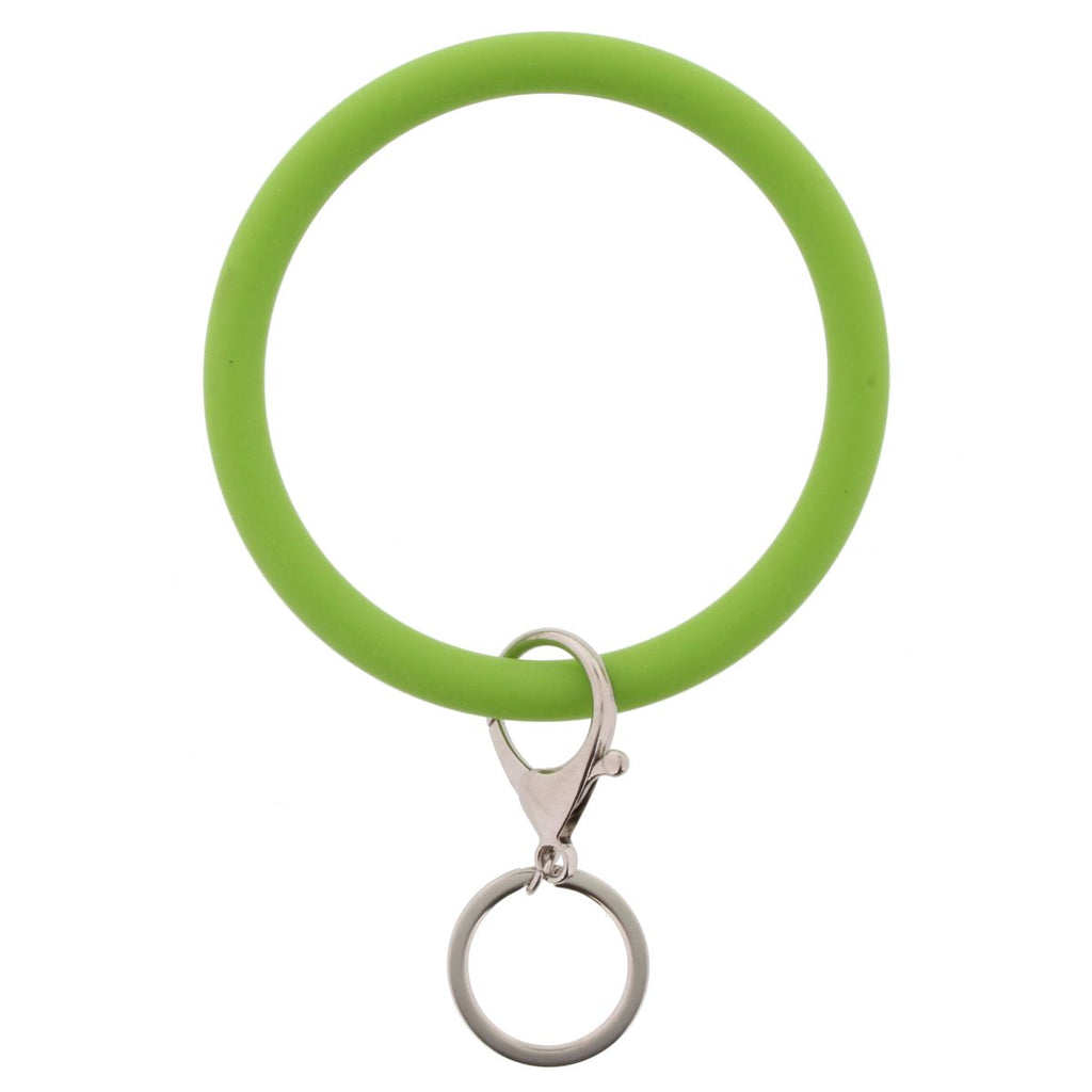 Key lime green bangle with keychain attachment on white background.