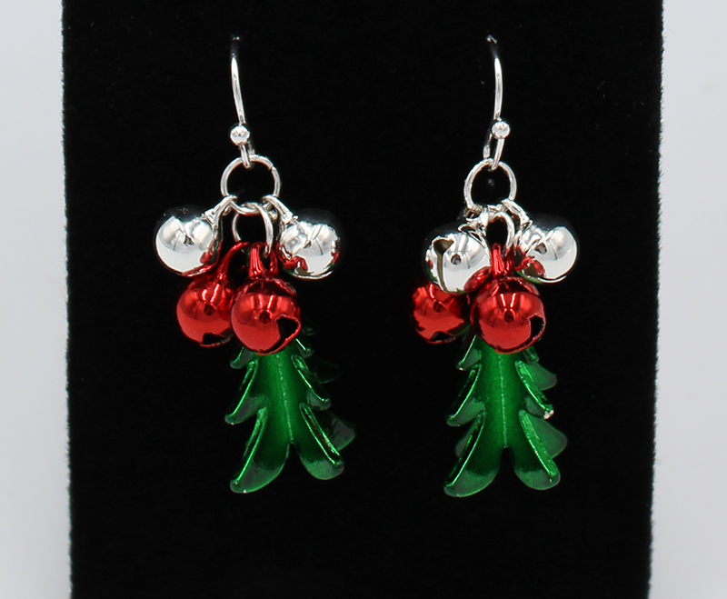 Green Christmas Tree earrings with a set of red and white jingle bells on top.