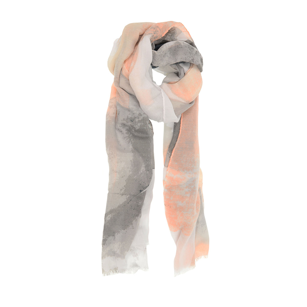 Soft Multi Abstract Scarf, peach and grey, unwrapped