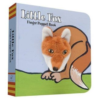 "Photo of cover and spine of the book ""Little Fox - Finger Puppet Book"".  The cover has an illustration of a fox sitting on grass and its head is a plush finger puppet poking through the cover."