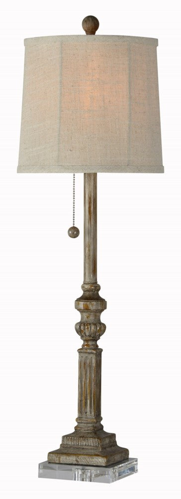 Buffet lamp with burnished finish and fluted detail.  Lamp sits on a piece of thick acrylic.
