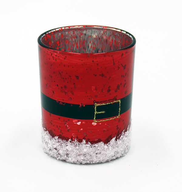 Red mercury glass votive with hand painted belt and buckle applied to suggest Santa.  Flocking and silver glitter applied to the bottom.