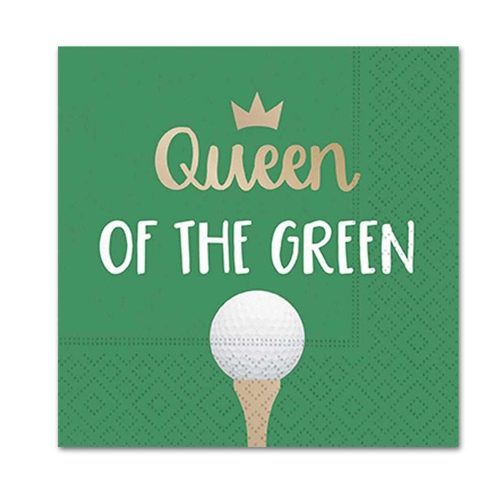 "A beverage napkin printed with the text ""Queen of the Green,"" a crown, and a golf ball on a tee."