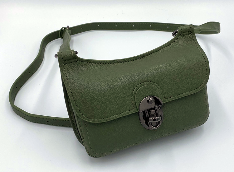Olive green purse on a white background