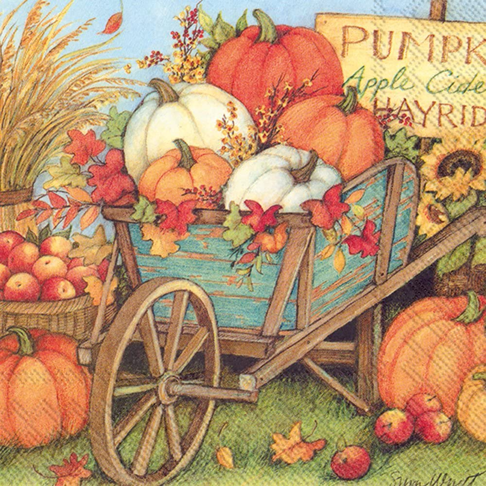 Features a bountiful harvest of pumpkins of all shapes sizes and colors in and around a blue wheelbarrow.