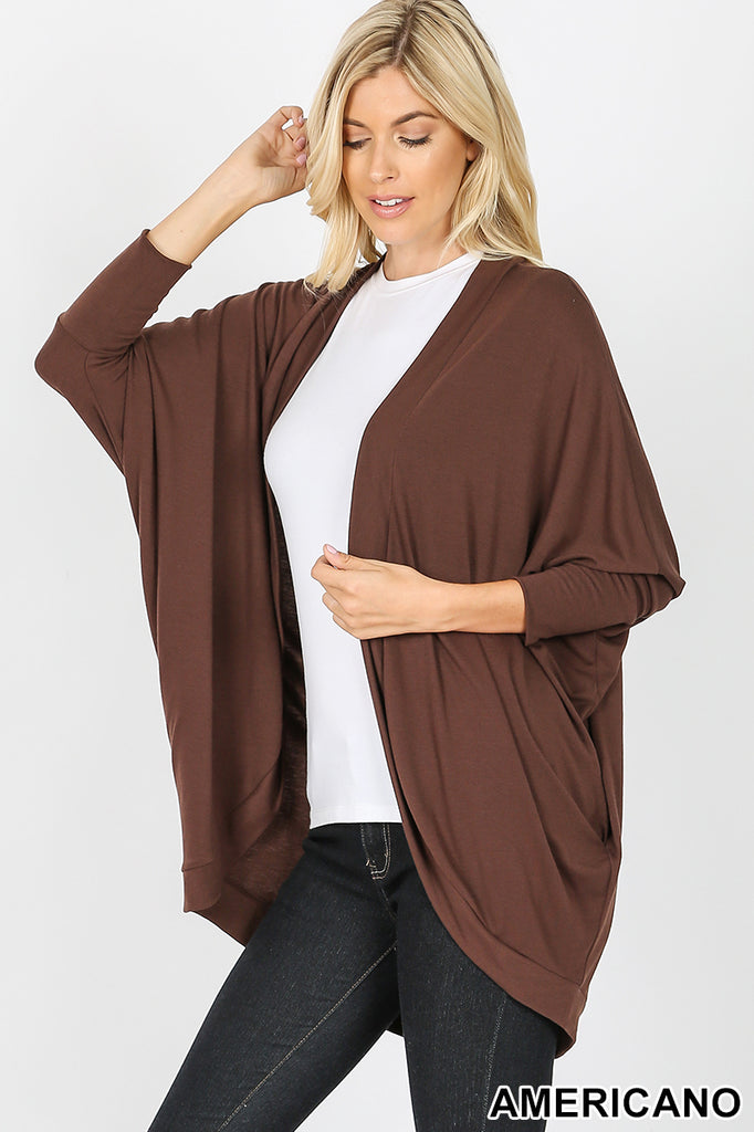 3/4 View of model wearing an Americano Brown 3/4 sleeve cardigan wrap
