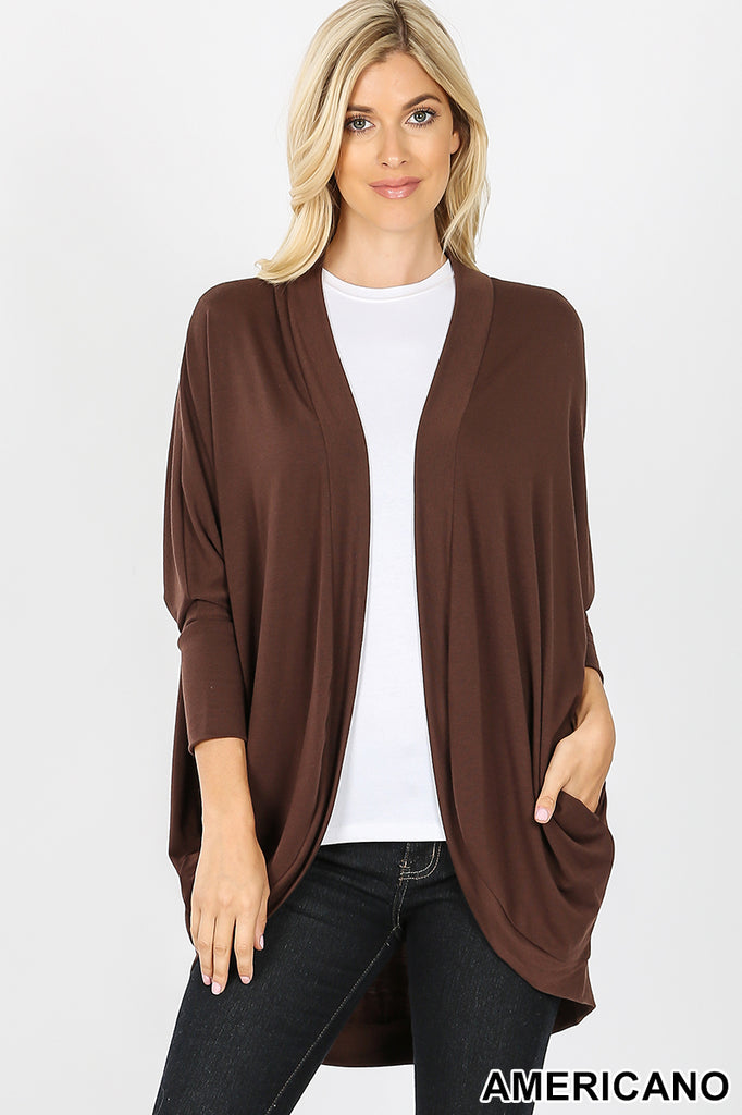 Front view of model wearing an Americano Brown 3/4 sleeve cardigan wrap