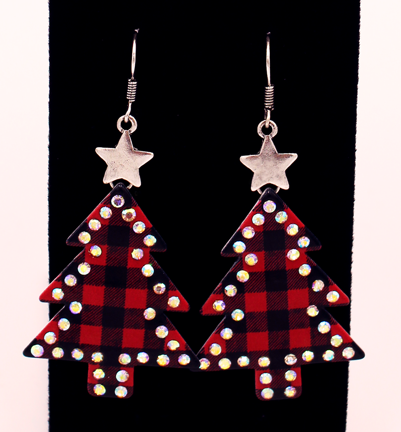 Red and Black plaid earrings with rhinestone outline and silver star on a black background.