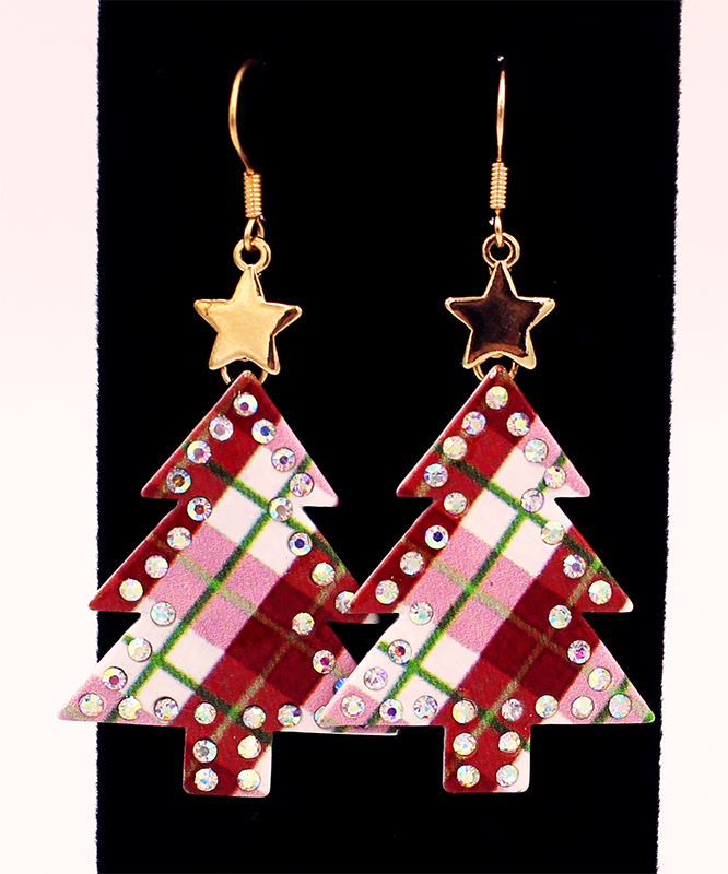 Red and White plaid earrings with rhinestone outline and gold star on a black background.
