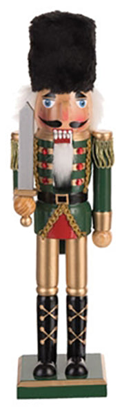 Wooden nutcracker holding a sword, wearing a green jacket and gold pants.