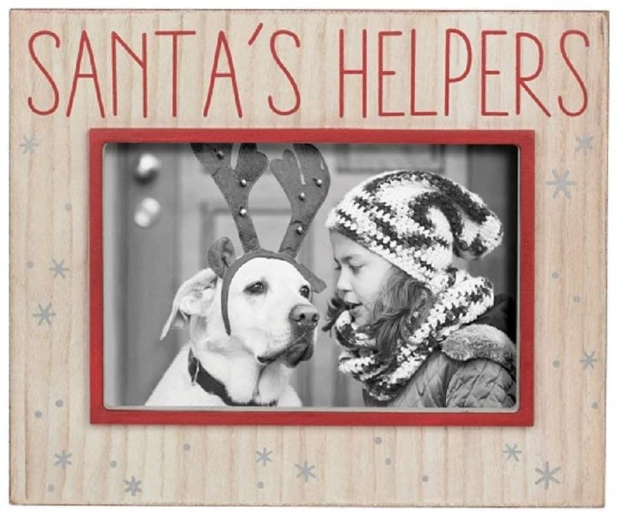 "Photo frame with wood grain background and silver snow flakes.  Red text above the photo area says ""Santa's Helpers"" in red.  The frame around the photo area is outlined in a matching red."
