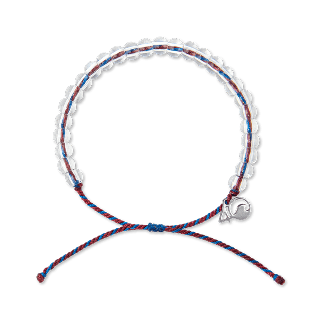 A bracelet made from post-consumer recycled palstic and glass with red and blue cord