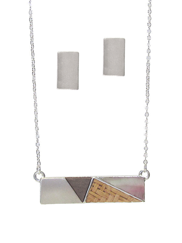 Silver earring and bar necklace set.  Necklace features matching silver, and wood, rattan and iridescent stone accents.