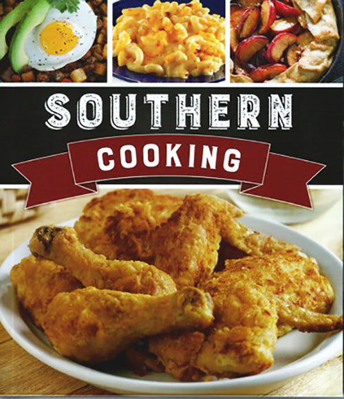 Cover of Southern Cooking cookbook.  Features images of eggs and potatoes, mac and cheese, apple pie and fried chicken.