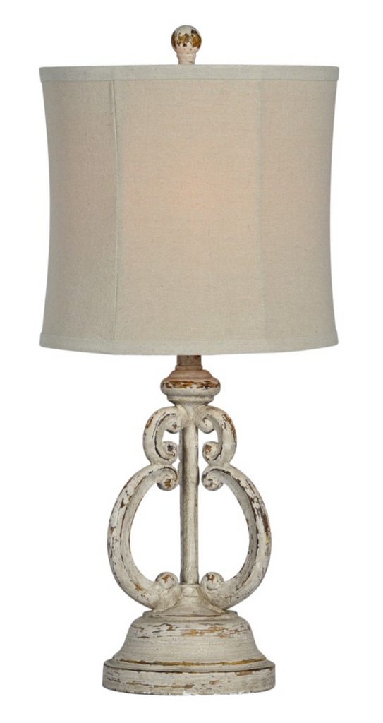 White resin table top lamp with white shade