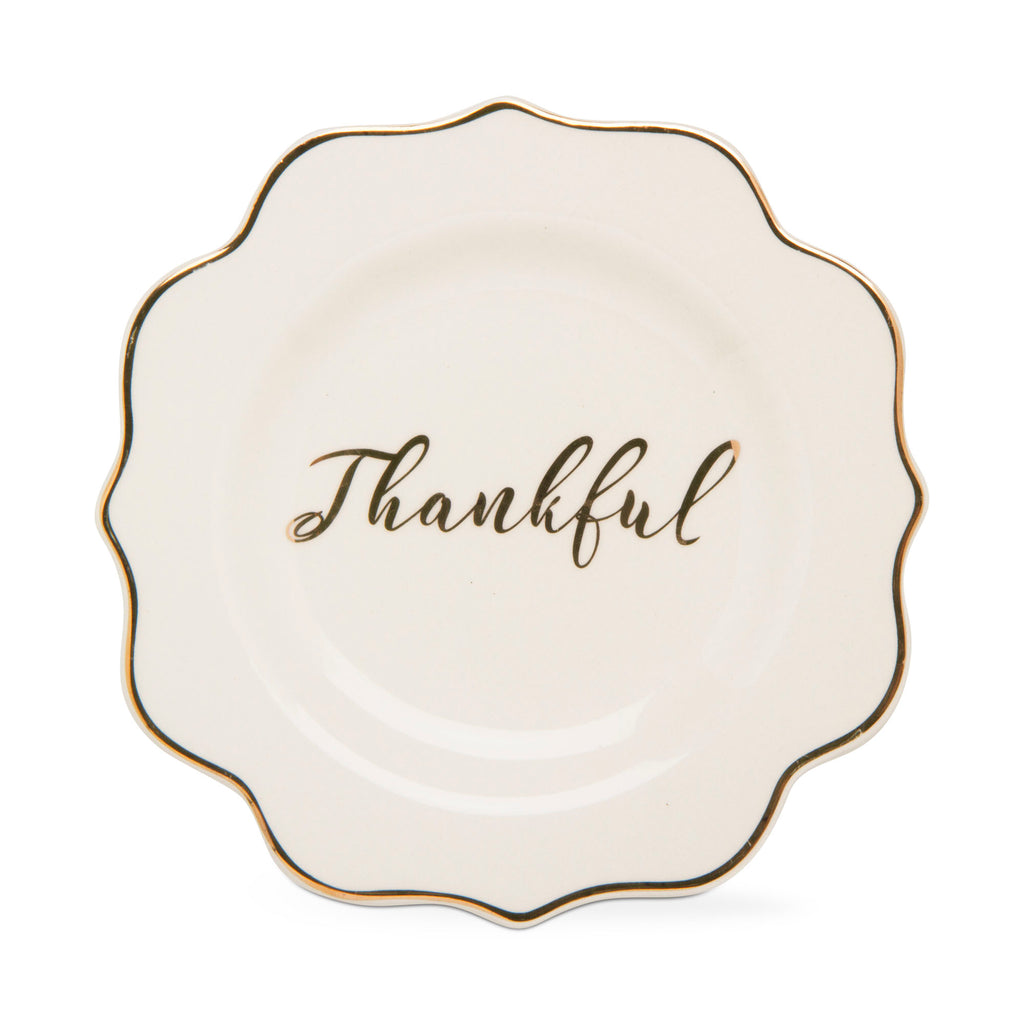 "Appetizer plate on white background.  Plate has a gold foil edge and a hand painted gold ""Thankful"" in the center."