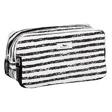 Black and white striped toilietry bag with zippered compartments