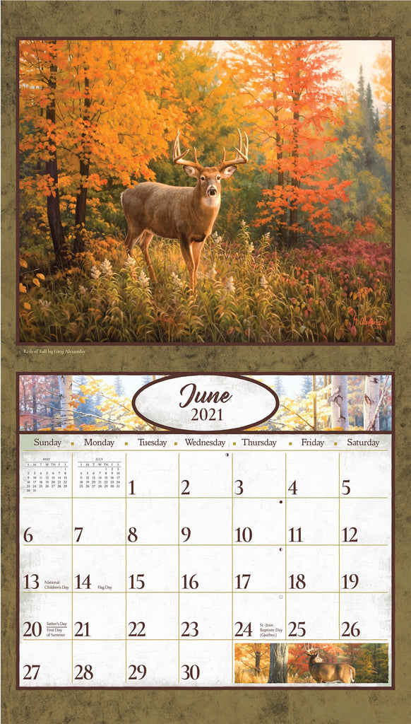 A sample page of Deer in the Woods Calendar 2021.  Featuring an image of a 6 point buck in the middle of a clearing of Fall foliage.
