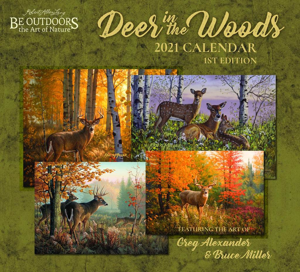 Cover of Deer in the Woods 2021 Calendar.  A green foliage background with four images of deer amongst trees in various seasons.