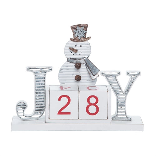 Christmas Countdown set with two six sided cubes that can be rotated to count down the days!  The snowman, and the letter J and Y all feature a galvanized metal detail.