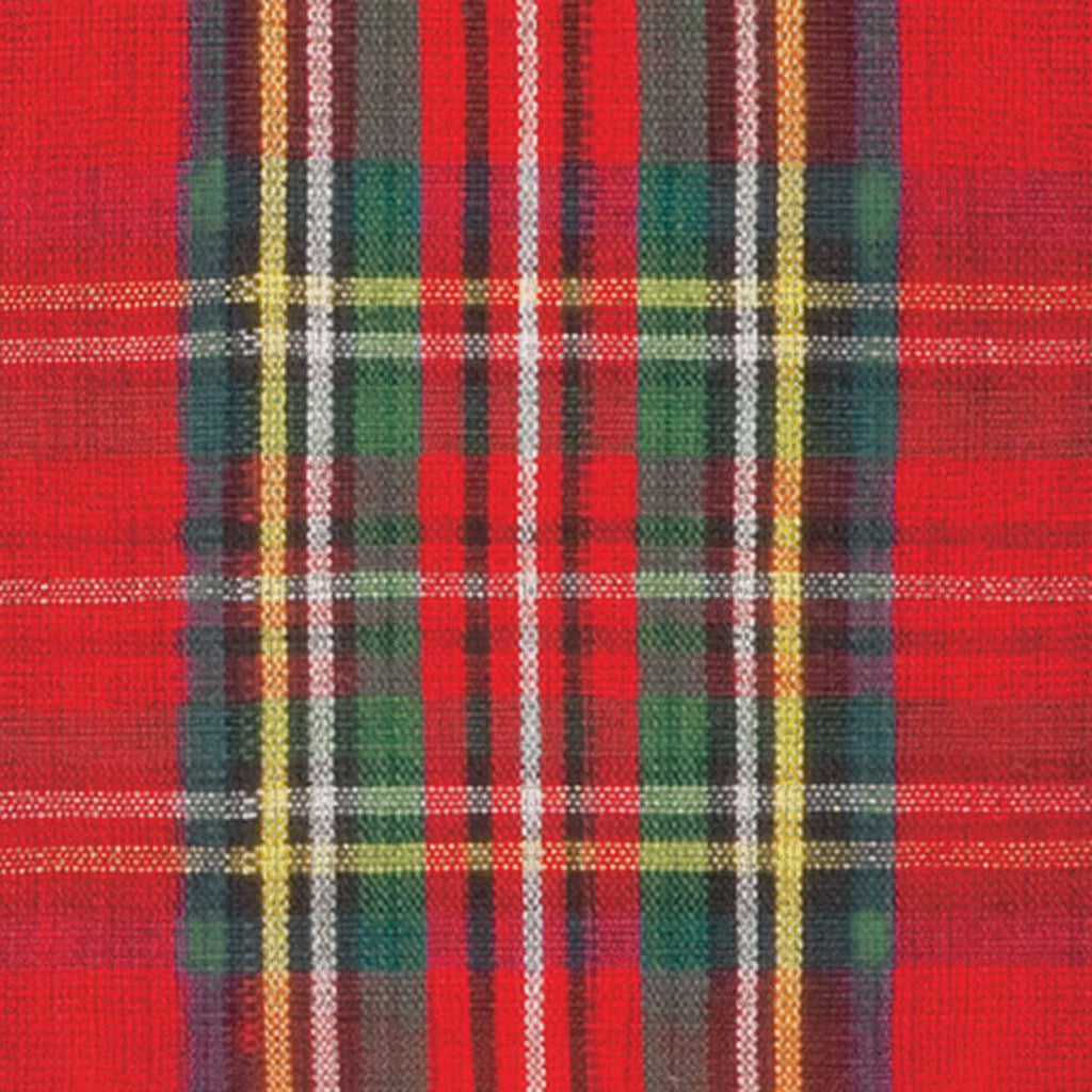 Plaid cocktail napkin, red background with blue, green, white, yellow and black.