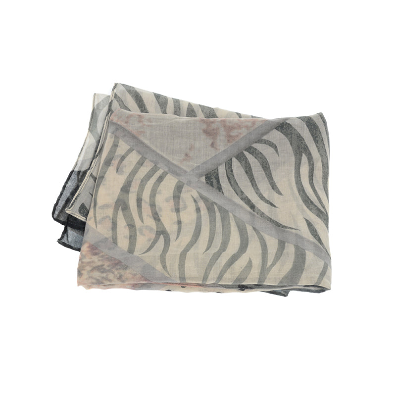 Animal Safari Print Scarf Pink and Grey Closeup
