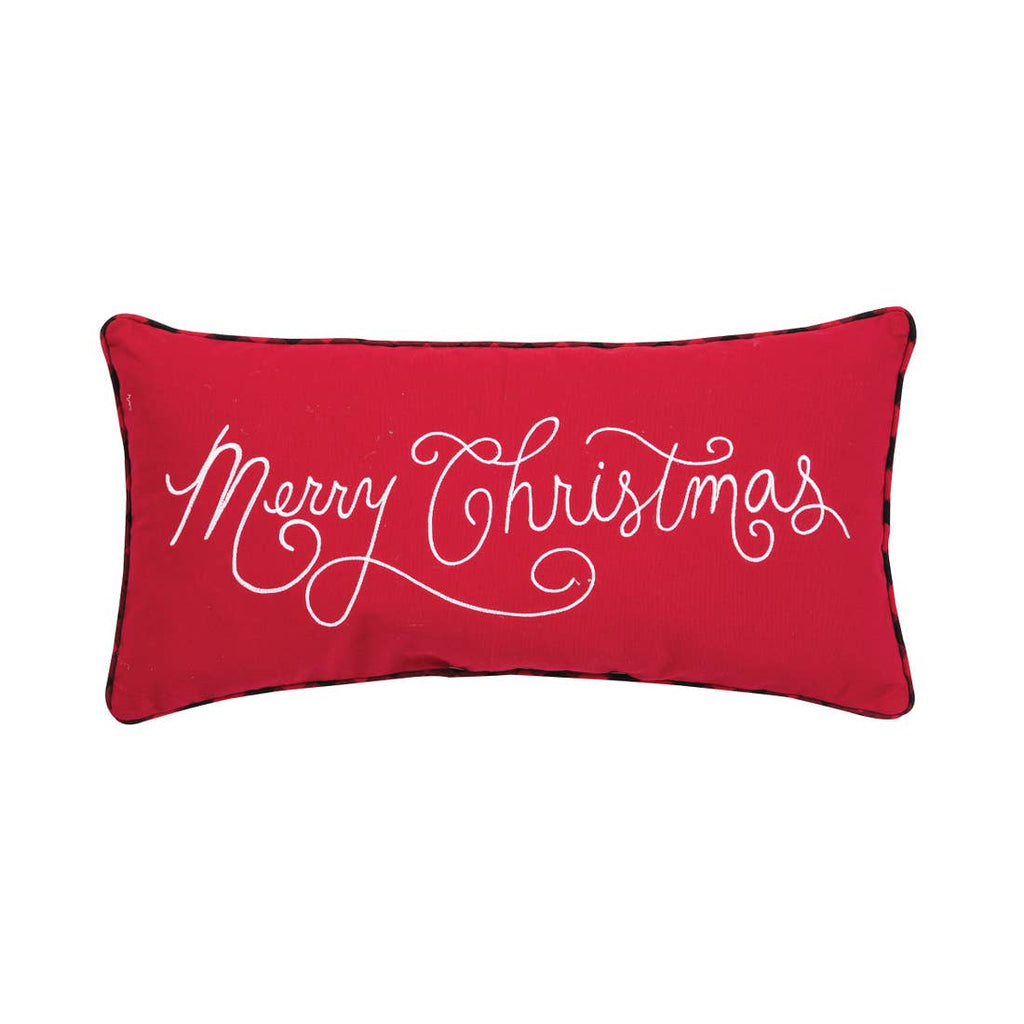 "Red pillow with ""Merry Christmas"" embroidered on it in white cursive script.  Pillow features a thin trim of red and black buffalo check around the perimeter."