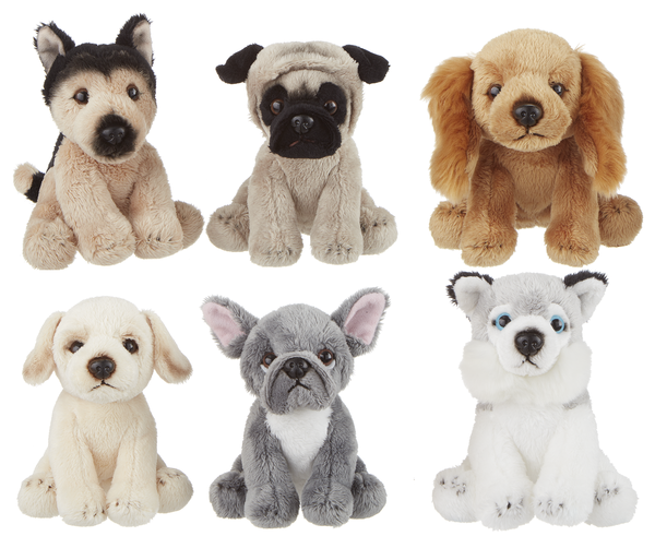 Plush stuffed dogs on a white background.  Top row, German Shepherd, Pug, and Cocker Spaniel.  Bottom row, Yellow Lab, French Bulldog, and Husky.