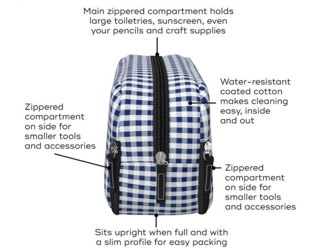 Diagram of toiletry bag detailing features