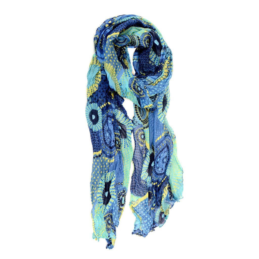 Dots and Daisy Scarf Cobalt and Lime